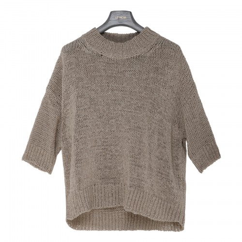 Taupe openwork knit sweater