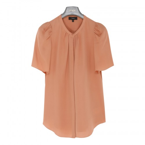 Pink silk-georgette ruched blouse