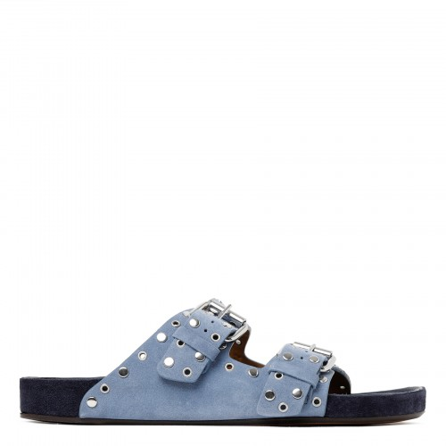 Lennyo blue suede studded sandals