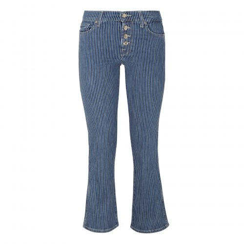 Ankle boot on board striped denim jeans