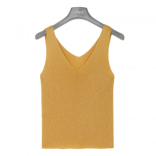 Yellow knitted tank top