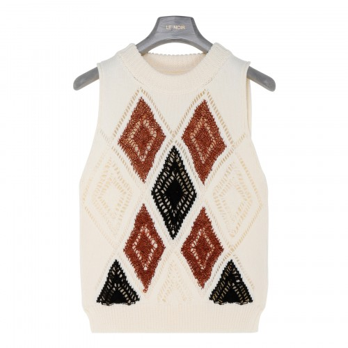 Argyle embroidery knitted vest
