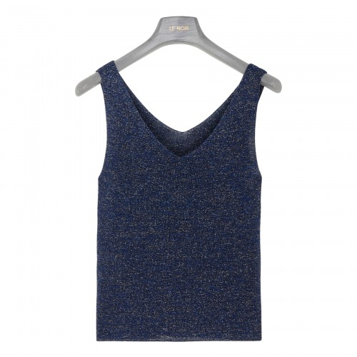 Blue knitted tank top