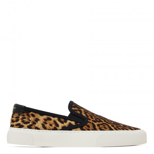 Venice leopard-print canvas slippers