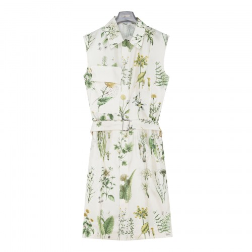 Silk shirt dress with botanical print