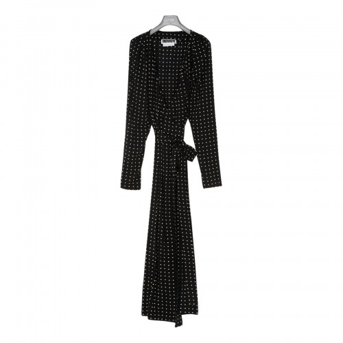 Bridget black polka dots long dress