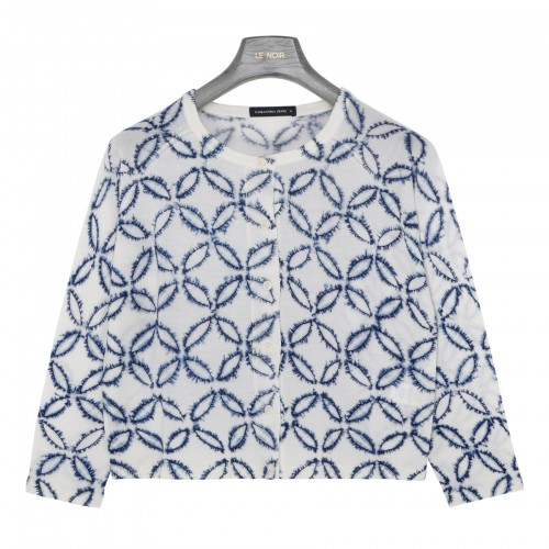 Lynette white and blue cardigan