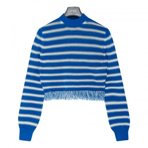 Striped sweater with fringed trims