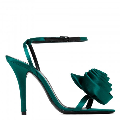 Ivy Flower green satin sandals