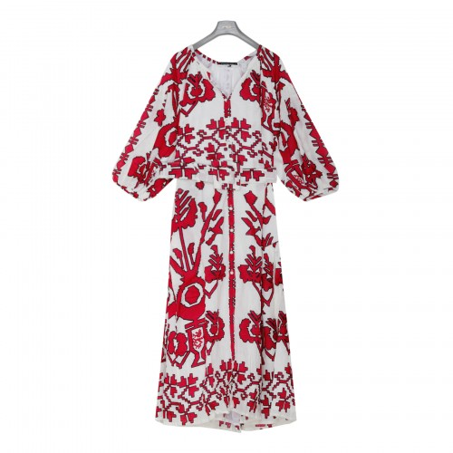 Nina white and red linen dress