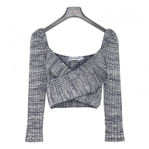 Crossover ribbed knit top