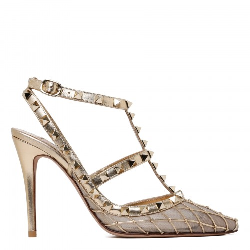 Rockstud gold net and nude mesh pumps