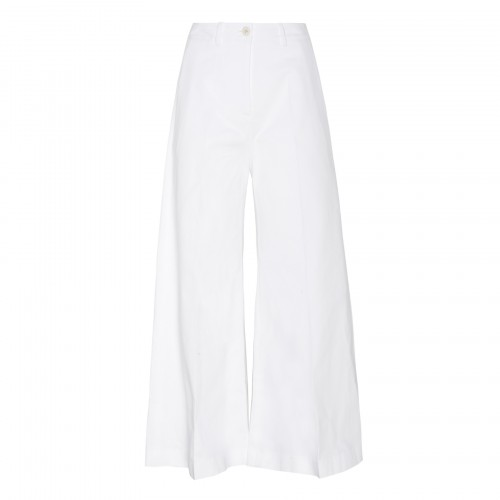 White flared cropped pants