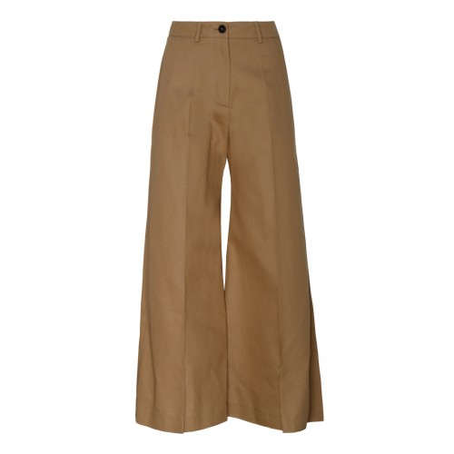 Tan-beige flared cropped pants