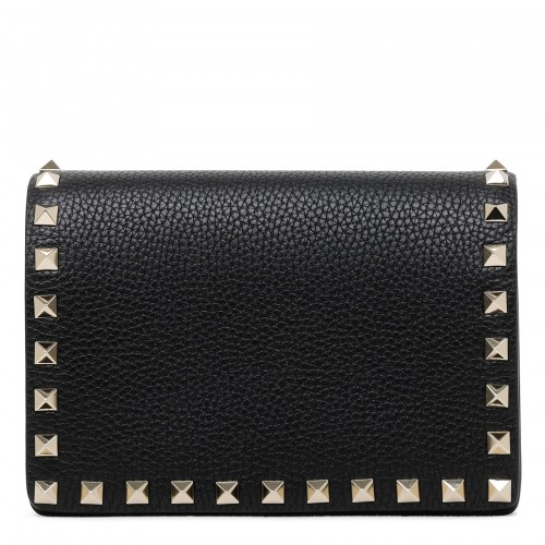 Rockstud black pouch with chain