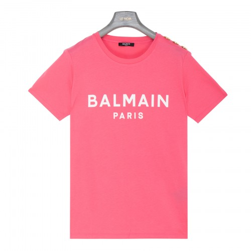 Pink cotton t-shirt with logo