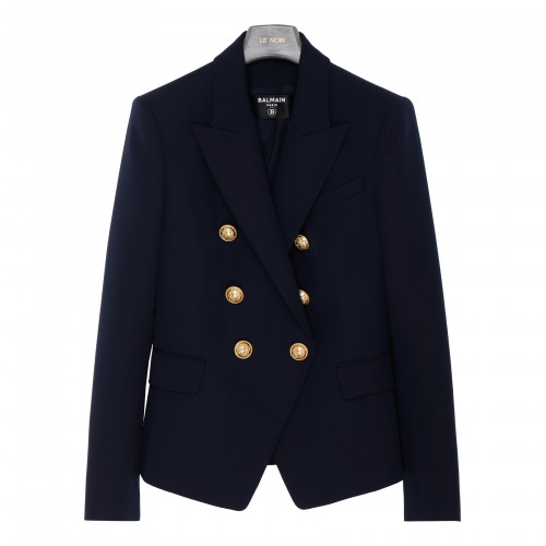 Blue double-breasted wool blazer