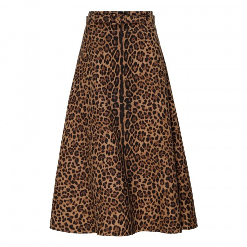 Animalier crepe couture skirt