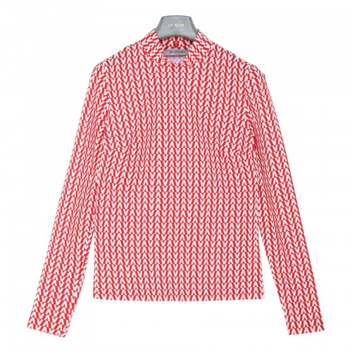 Optical Valentino red jersey top