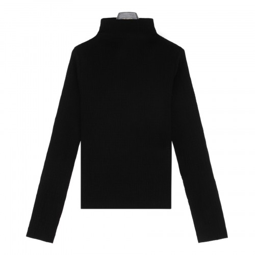 Black cotton jersey fitted top