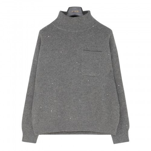 Shiny effect wool and cashmere