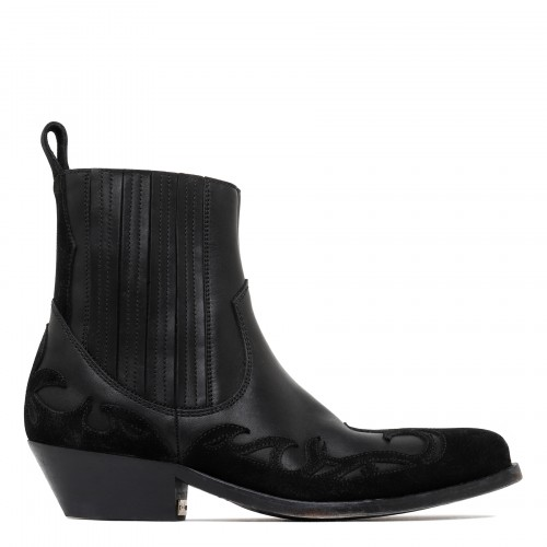 Santiago leather and suede booties
