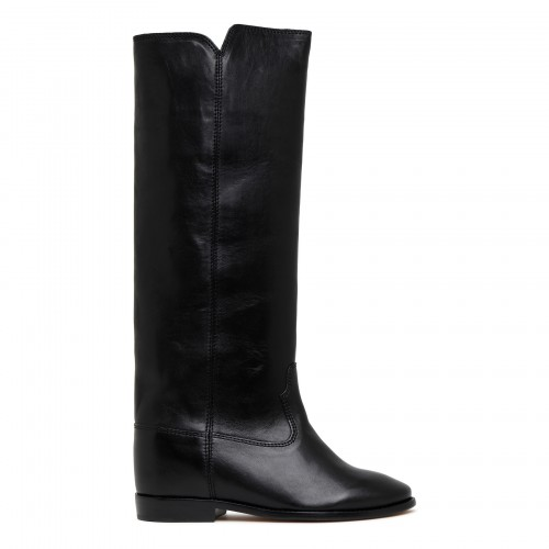 Chess black leather boots