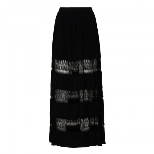 Black knit and lace pleated skirt