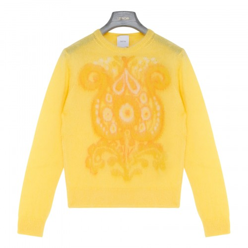 Yellow mohair and alpaca blend sweater