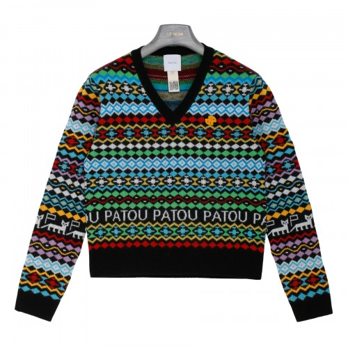 Cashmere and wool jacquard sweater