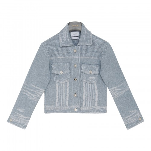 Fitted distressed denim jacket