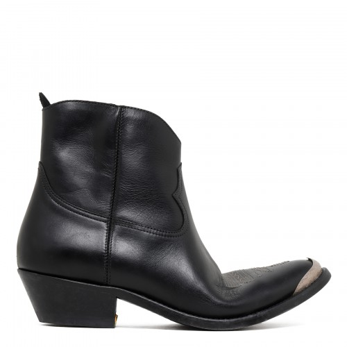 Young black leather booties