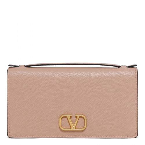 VLogo powder pink pouch with chain