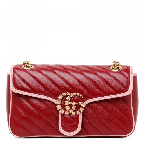 GG Marmont red and pink small shoulder bag