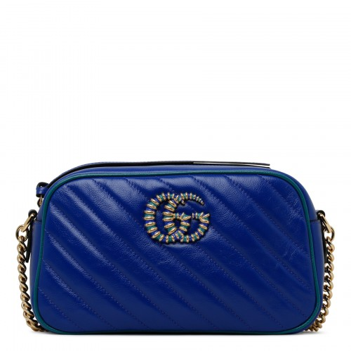 GG Marmont blue and green small shoulder bag
