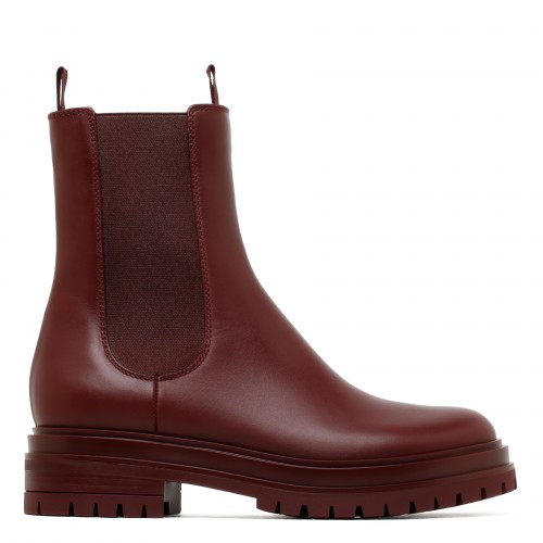 Chester merlot-hue leather booties