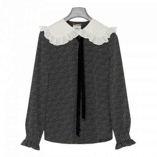 Dotted silk crepe de chine blouse