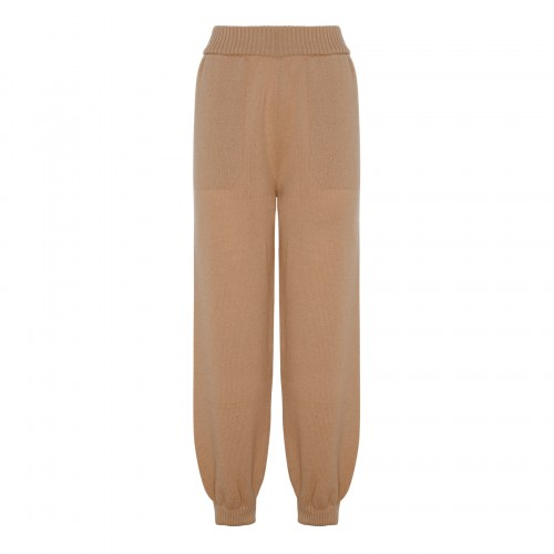 Beige knitted cashmere blend pants
