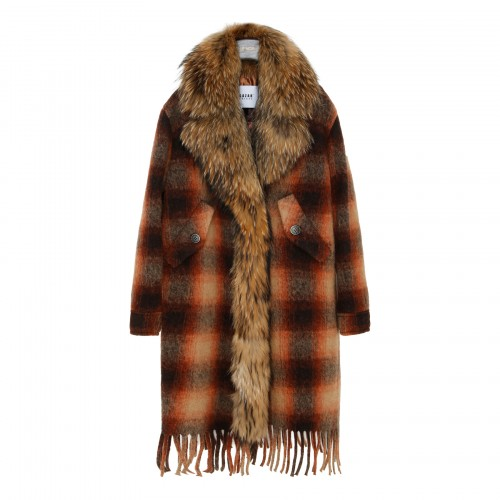 Check coat with fur collar