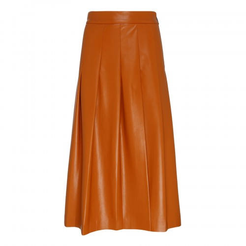 Camel-hue faux leather skirt