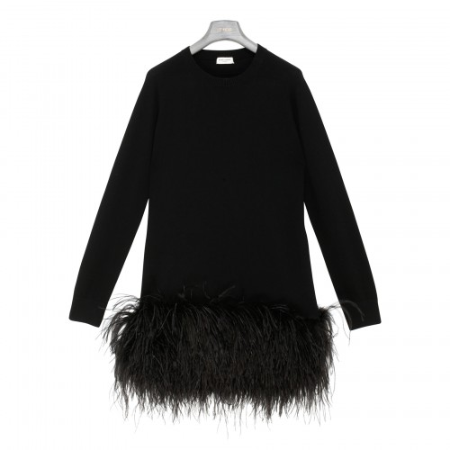 Cashmere mini dress with feathers