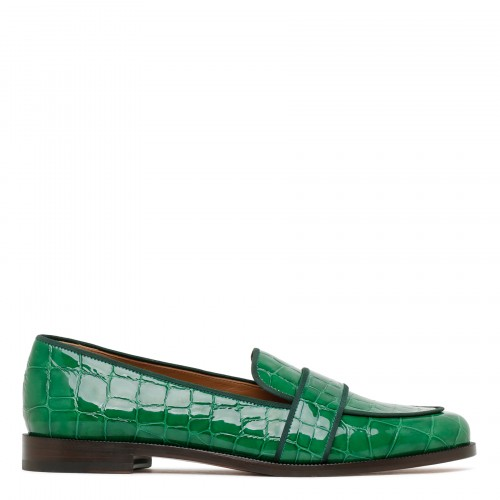 Martin croc-embossed leather loafers