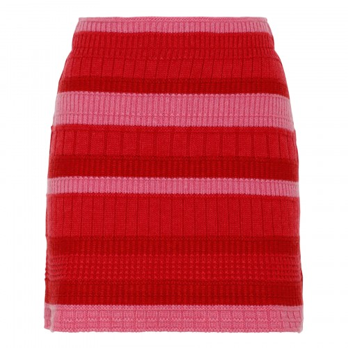Red cashmere striped skirt