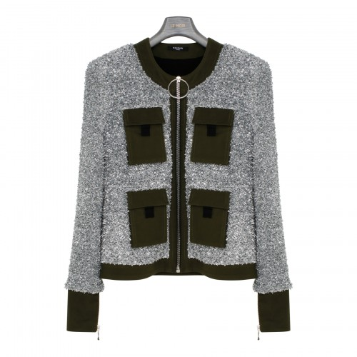 Tweed and canvas zipped jacket