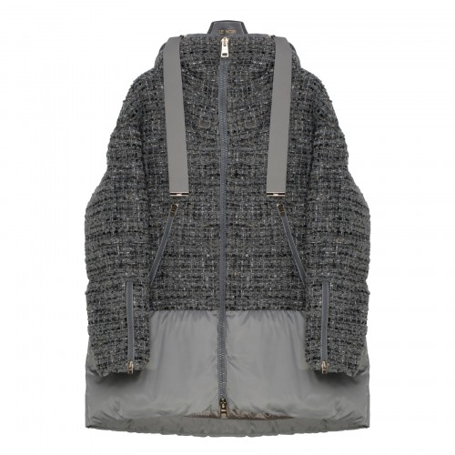 Gray tweed and bouclé down jacket