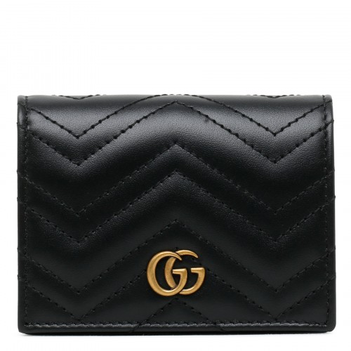 Black leather GG Marmont small wallet