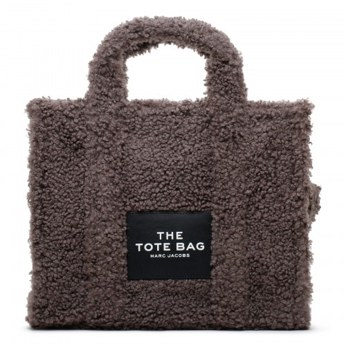 The Teddy gray faux shearling small tote bag