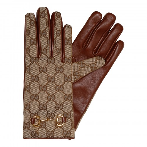 GG canvas and leather gloves