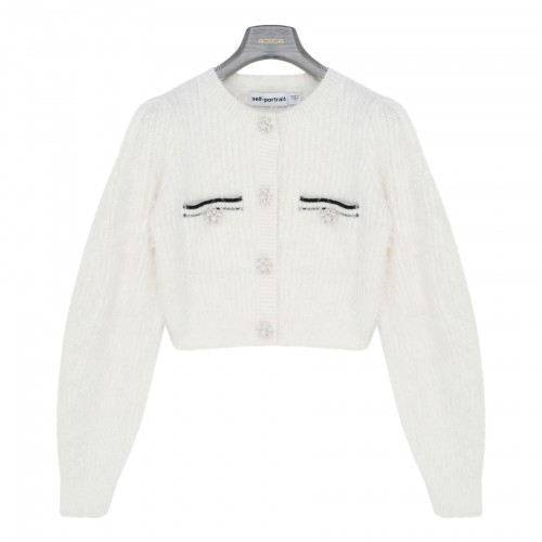 White fluffy knit cropped cardigan