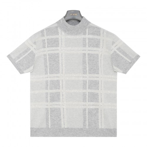 Check wool-blend top